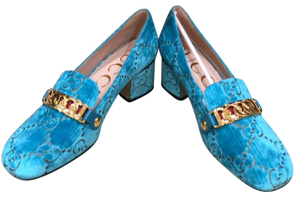 7f42089a322 Gucci Turquoise Velvet Gg Pumps Size EU 38.5 (Approx. US 8.5 ...