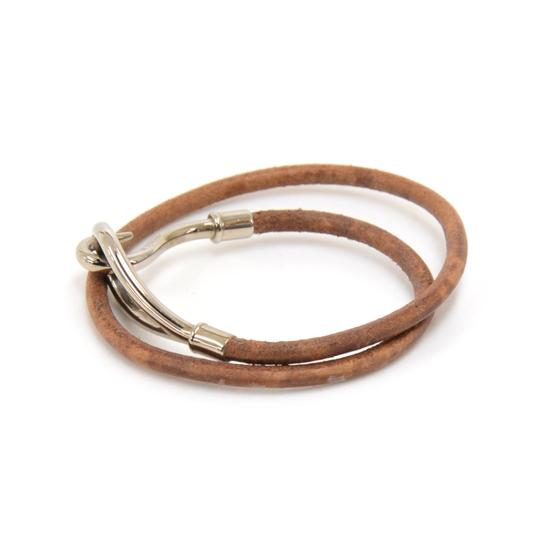 Hermès Hermes Brown Leather x Silver Tone Hook Double Wrap Jumbo Bracelet Image 1