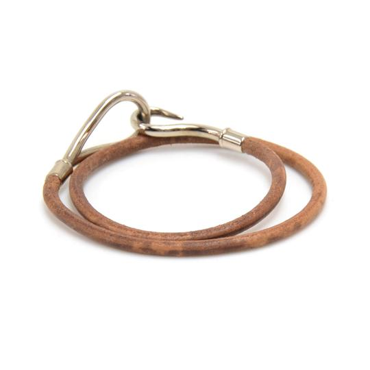 Hermès Hermes Brown Leather x Silver Tone Hook Double Wrap Jumbo Bracelet Image 2