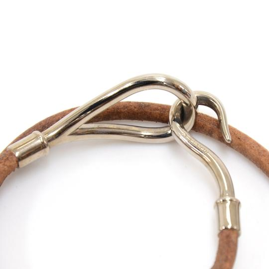 Hermès Hermes Brown Leather x Silver Tone Hook Double Wrap Jumbo Bracelet Image 4