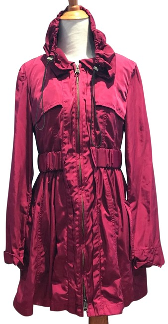 Nanette Lepore Plum Magenta Pink Gathered Belt Trench Coat Size 4 (S) Nanette Lepore Plum Magenta Pink Gathered Belt Trench Coat Size 4 (S) Image 1