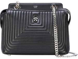 Fendi Lambskin Leather Dotcom Satchel in Black