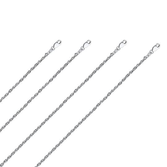Top Gold & Diamond Jewelry 14k White Gold 2.7 mm Double Link Hollow Rope Chain - 22