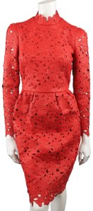 Valentino Leather Lace Leather Lace Laser Cut Long Sleeve Dress
