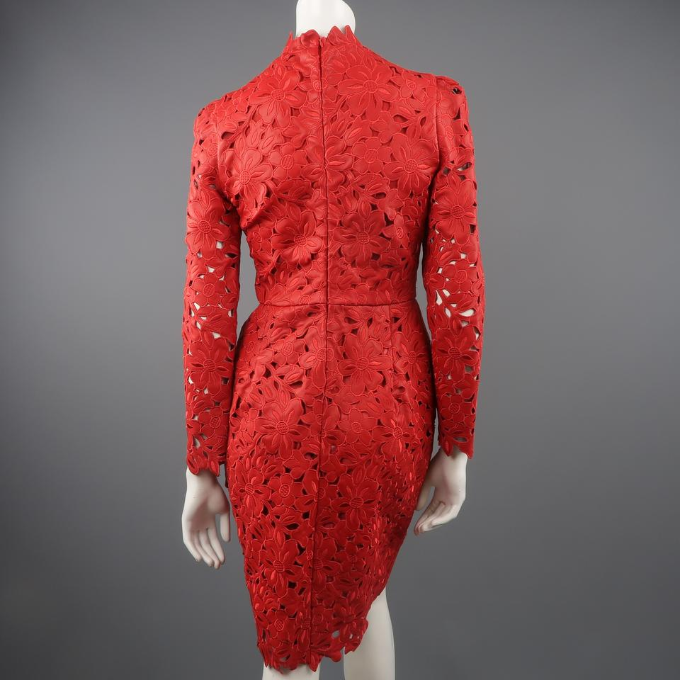 ec33a4291c0 Valentino Leather Lace Leather Lace Laser Cut Long Sleeve Dress Image 9.  12345678910