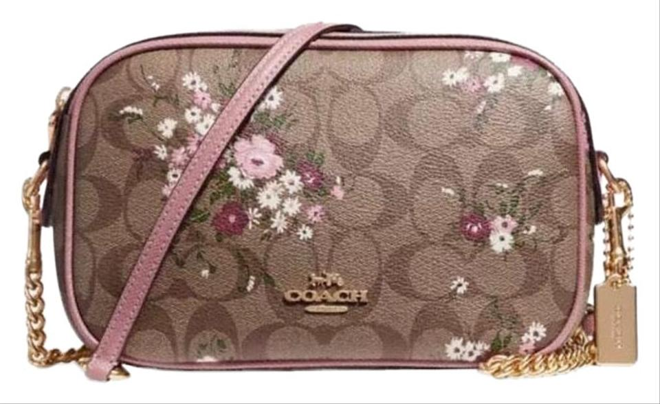 skilful manufacture best value lower price with Coach Isla Khaki Pink Signature Floral Print Chain Clutchf29732 Multicolor  Coated Canvas Cross Body Bag 42% off retail