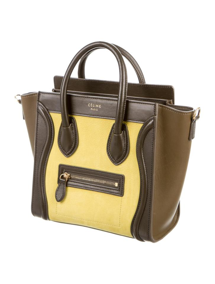 f8bf91a4258e42 Céline Luggage Nano Tote Very Good Condition Green/Yellow Leather Shoulder  Bag - Tradesy