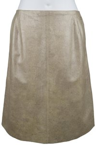 Chanel A Line Metallic Leather Cc Logo Skirt Gold