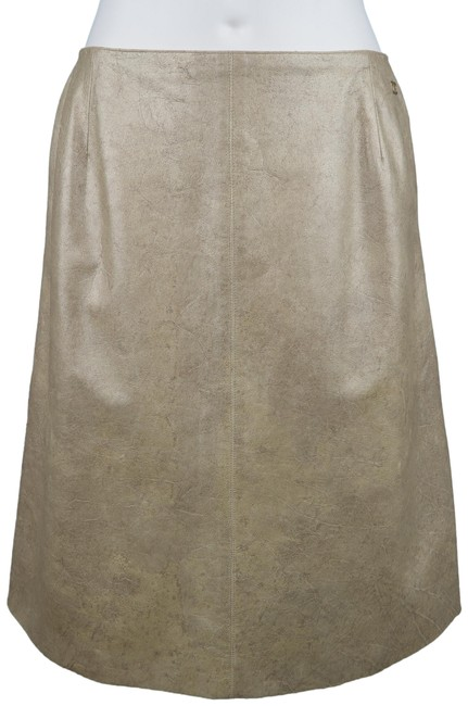 Chanel A Line Metallic Leather Cc Logo Skirt Gold Image 0