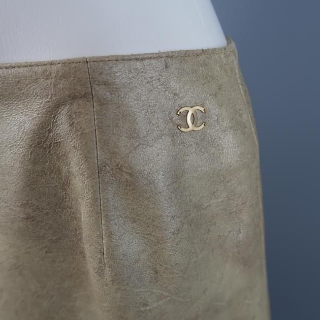 Chanel A Line Metallic Leather Cc Logo Skirt Gold Image 2