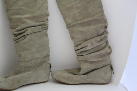 Dior Rutched Flat Suede GREY/ TAUPE Boots Image 5