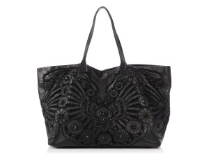 Valentino Vl.p1023.13 Floral Crystal Embellished Reduced Price Tote in Black