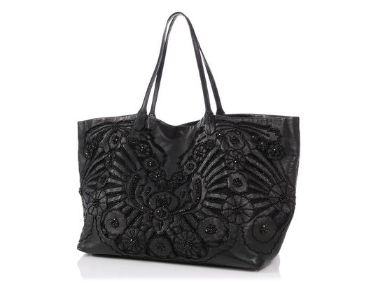 Valentino Vl.p1023.13 Floral Crystal Embellished Reduced Price Tote in Black Image 1
