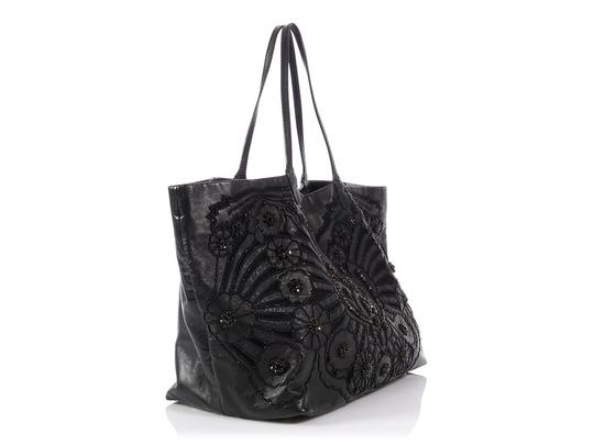 Valentino Vl.p1023.13 Floral Crystal Embellished Reduced Price Tote in Black Image 4