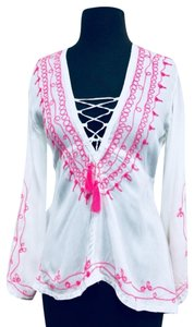 Vintage Havana Boho Bohemian Embroidered Top White pink