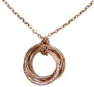 Cartier Trinity Pink Sapphire 18k Pink Gold 3 Ring Pendant & Chain w/Cert.