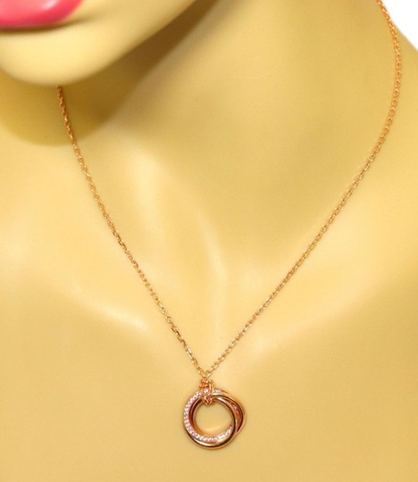 Cartier Trinity Pink Sapphire 18k Pink Gold 3 Ring Pendant & Chain w/Cert. Image 1