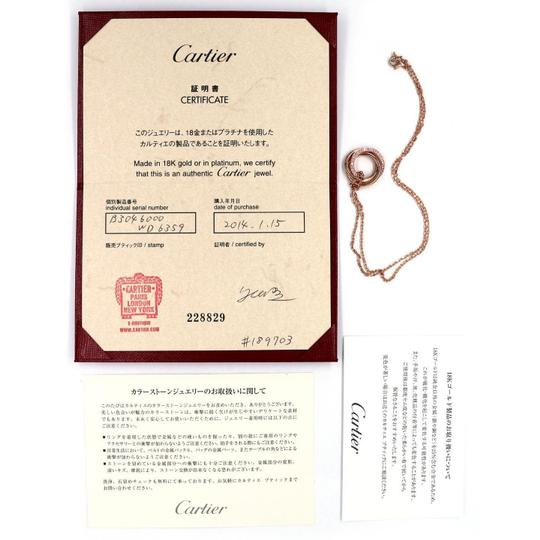 Cartier Trinity Pink Sapphire 18k Pink Gold 3 Ring Pendant & Chain w/Cert. Image 2
