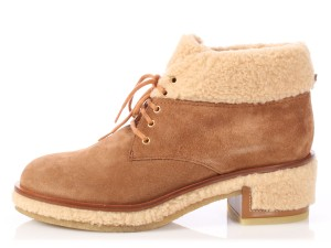 Chanel Ch.p1022.19 Faux Searling Fleece Suede Brown Boots