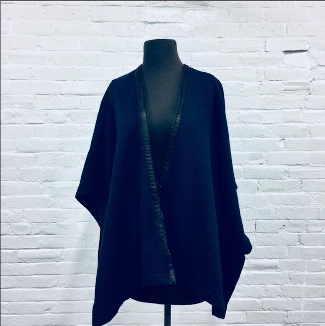 Three Dots Leather Trim Leather Cape Image 2
