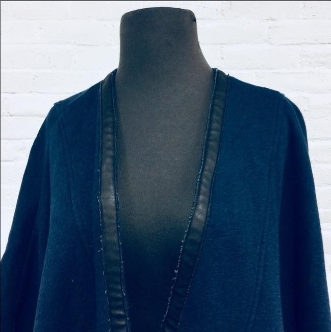 Three Dots Leather Trim Leather Cape Image 3