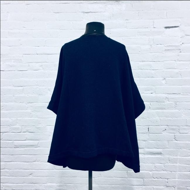 Three Dots Leather Trim Leather Cape Image 5