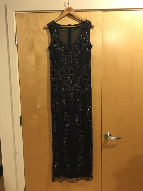 Item - Navy Polyester Evening Gown Formal Bridesmaid/Mob Dress Size 10 (M)
