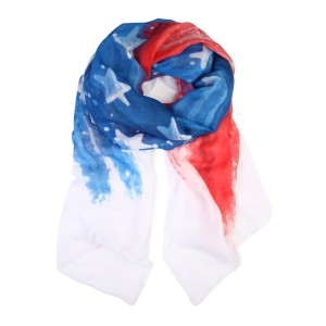 Riah Fashion Red & Blue Watercolor American Flag scarf