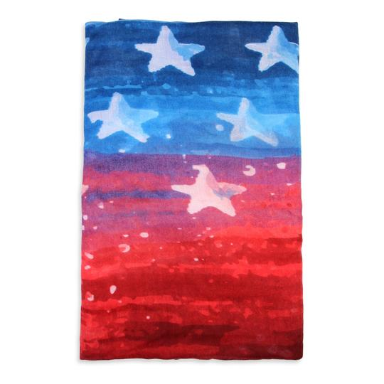 Riah Fashion Red & Blue Watercolor American Flag scarf Image 2
