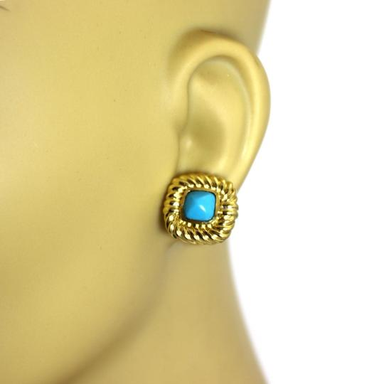 David Yurman Turquoise 18k Yellow Gold Square Cable Post Clip Earrings Image 1