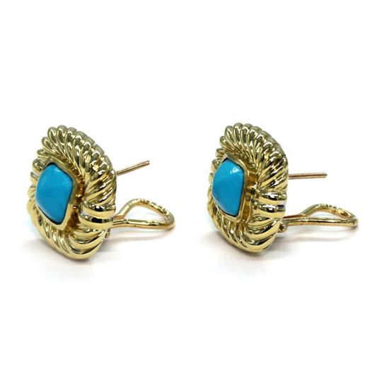 David Yurman Turquoise 18k Yellow Gold Square Cable Post Clip Earrings Image 2