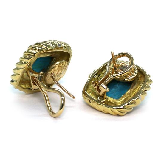 David Yurman Turquoise 18k Yellow Gold Square Cable Post Clip Earrings Image 3