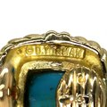 David Yurman Turquoise 18k Yellow Gold Square Cable Post Clip Earrings Image 4