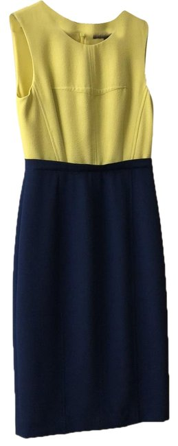 Preload https://img-static.tradesy.com/item/24391671/bcbgmaxazria-blue-with-yellow-brunch-or-mid-length-workoffice-dress-size-2-xs-0-1-650-650.jpg
