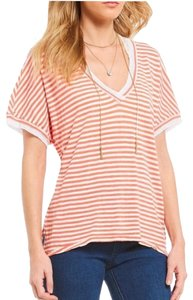 Free People Striped New With Tags Boho Bohemian T Shirt Pink white
