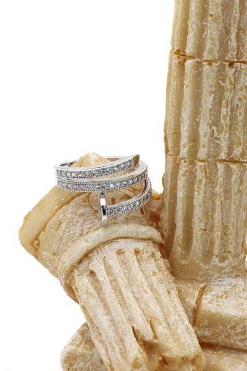 Ocean Fashion Silver Fashion micro pave crystal belt ring Image 7