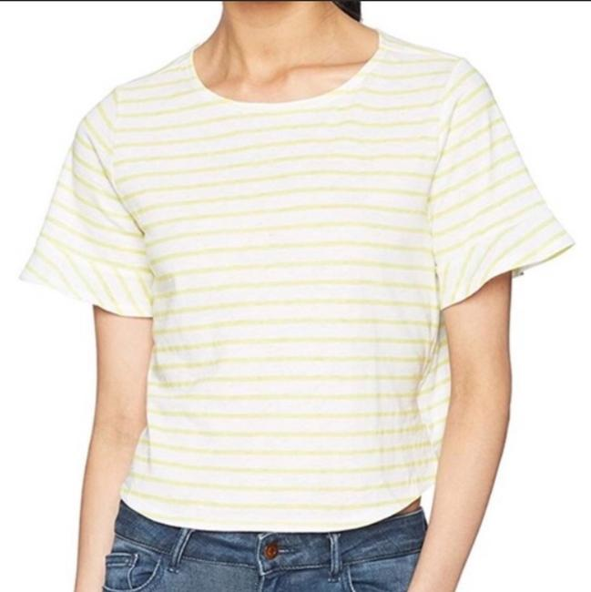 Lucky Brand Striped T Shirt Yellow white Image 1