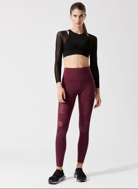 Alo High Waist Moto Leggings in Cherry Glossy Image 2