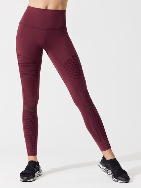 Alo High Waist Moto Leggings in Cherry Glossy Image 3