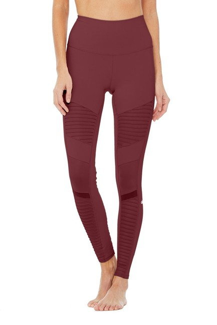 Alo High Waist Moto Leggings in Cherry Glossy Image 6