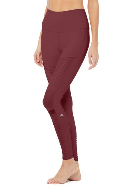 Alo High Waist Moto Leggings in Cherry Glossy Image 7