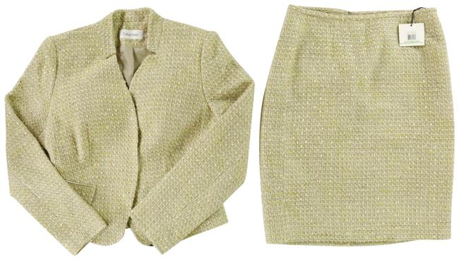 Item - Gold Metallic-accented Wheat and Cream Great Texture Skirt Suit Size 8 (M)