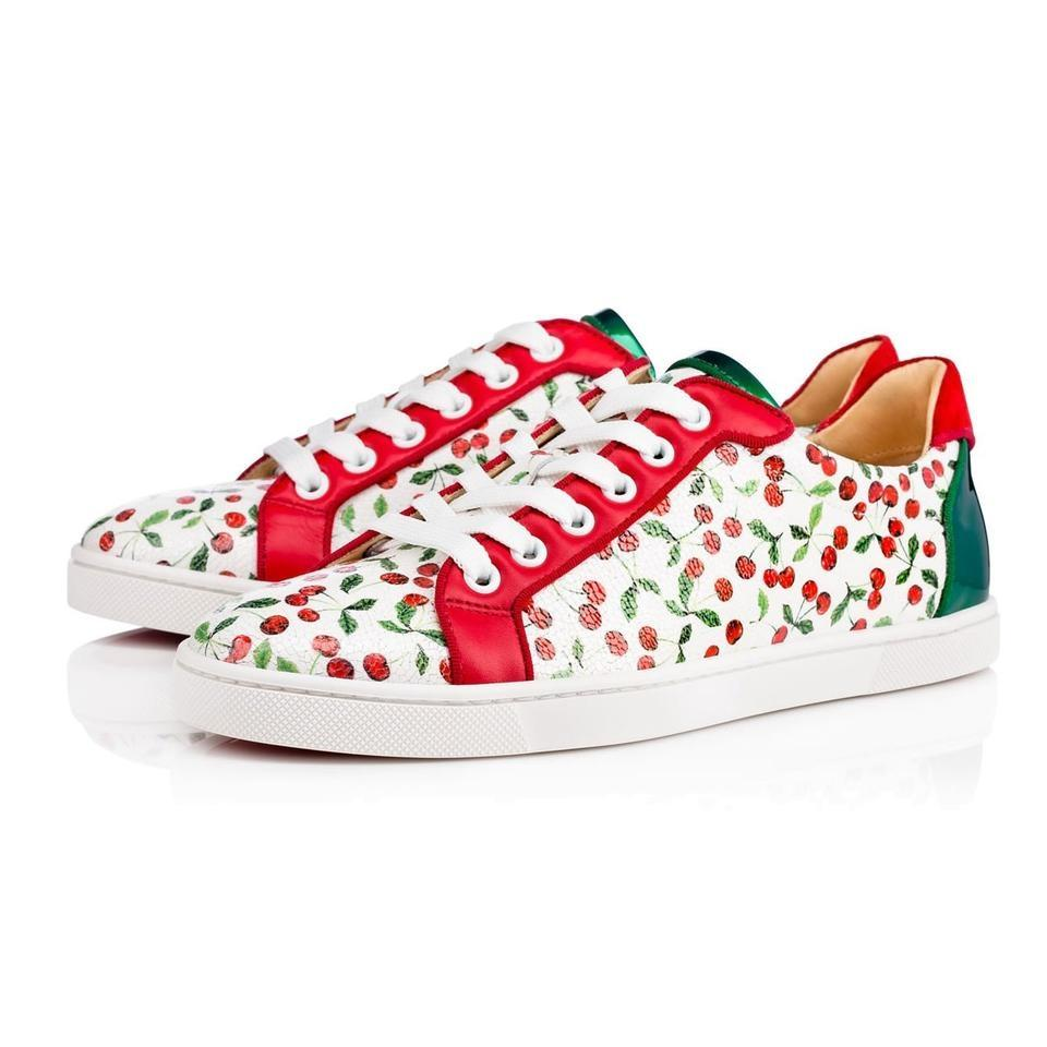 wholesale dealer 46ee2 4ef7d Christian Louboutin White Seava Flat Caviar Cherry Red Low Top Lace Up Tie  Trainer Sneaker Sneakers Size EU 37 (Approx. US 7) Regular (M, B) 40% off  ...