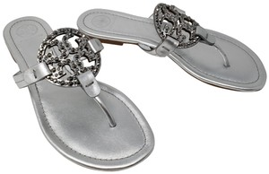 Tory Burch Reva Crystal Hardware Metallic Silver Sandals