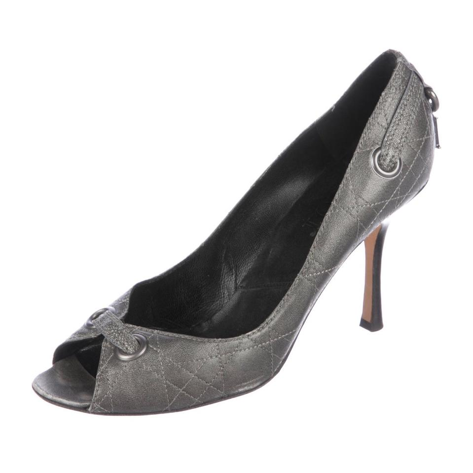7d0807d12 Dior Charcoal Gray/Metallic Christian Leather Peep-toe Cd Lock Pumps ...