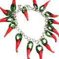 Handmade Hand Blown Glass Red Chili Peppers Charm Chain Bracelet Image 0