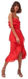 C/meo Collective Elude Chiffon Red Slit Red Flowy Skirt CHILI