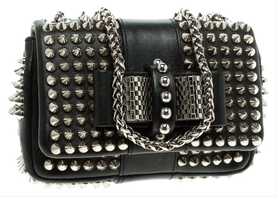 0a87b0f2530 Christian Louboutin Spiked Sweet Charity Black Leather and Fabric ...