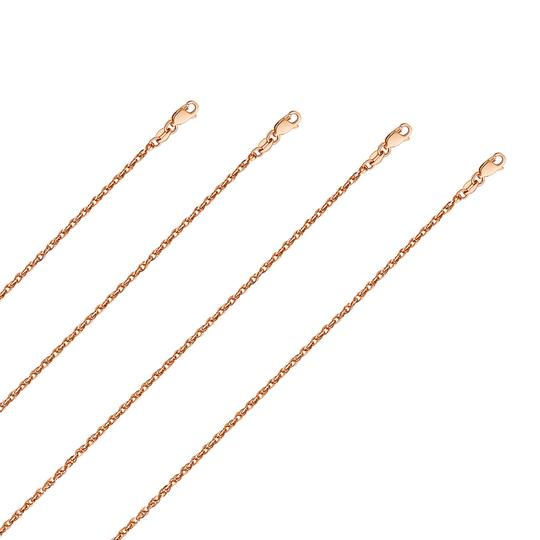 Top Gold & Diamond Jewelry 14k Pink Gold 2.2mm Double Link Hollow Rope Chain - 24