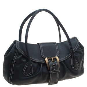 Céline Leather Buckle Suede Satchel in Black